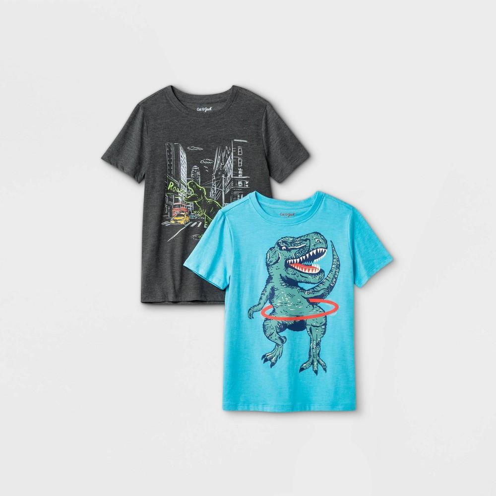 Boys 39 2pk Graphic Short Sleeve T Shirt Cat 38 Jack 8482 Gray Blue Xxl