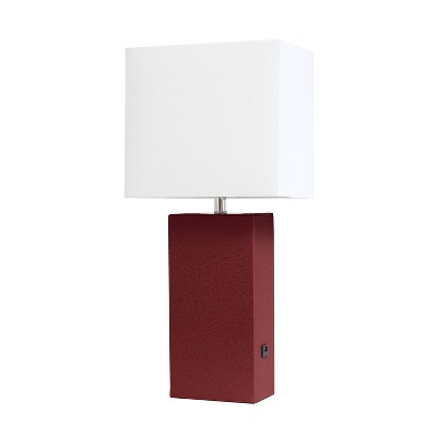 Modern Leather Table Lamp with USB and Fabric Shade Red - Elegant Designs