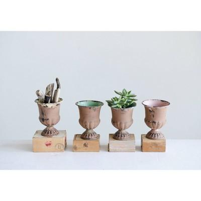 "Set of 4 4.5"" x 3.5"" Metal and Terracotta Urn Jars - 3R Studios"