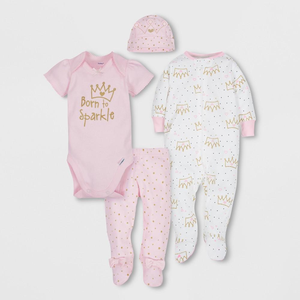 Gerber Baby Girls' 4pc Short Sleeve Bodysuit, Long Sleeve Sleeper Pants and Cap Set - Pink 3-6M