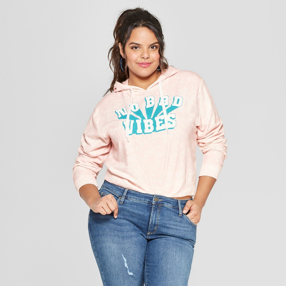 Women's Plus Size No Bad Vibes Graphic Hoodie - Freeze (Juniors') Pink 1X