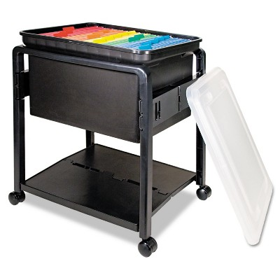 Advantus Folding Mobile File Cart 14-1/2w x 18-1/2d x 21-3/4h Clear/Black 55758