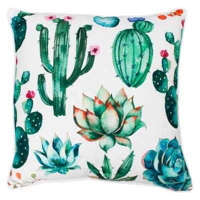Décor Therapy 20 x20  Ellen Cindy Succulent Throw Pillow White