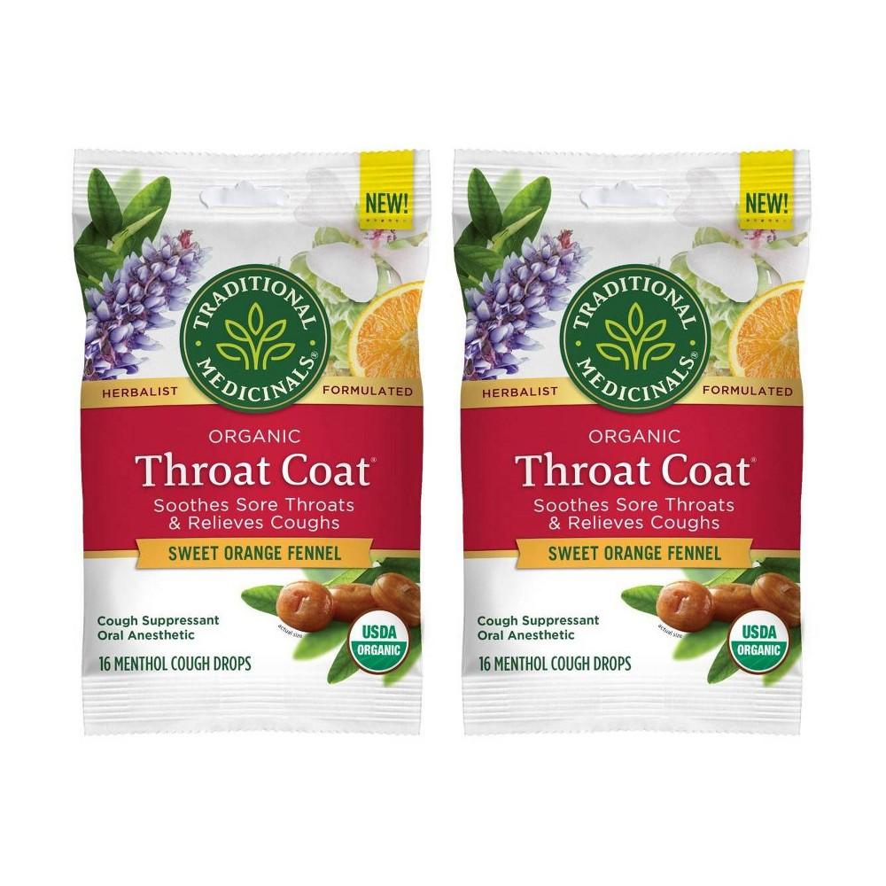 Traditional Medicinals Throat Coat Sweet Orange Fennel Lozenges 2pk 16ct