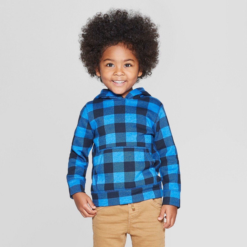 Toddler Boys' Fleece Buffalo Check Sweatshirt - Cat & Jack Blue 5T