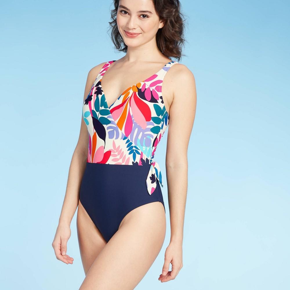 1930s Syle Bathing Suits Women39s Wrap Tie One Piece Swimsuit - Sea Angel Floral White $39.99 AT vintagedancer.com