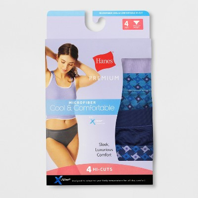 Hanes Premium Women's Cool & Comfortable Microfiber Hi-Cut Panties 4pk