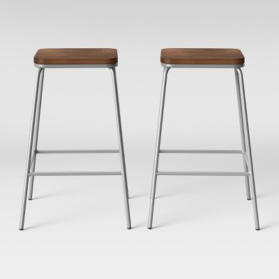 Set of 2 Rhodes Metal/Wood Barstool Silver - Project 62™