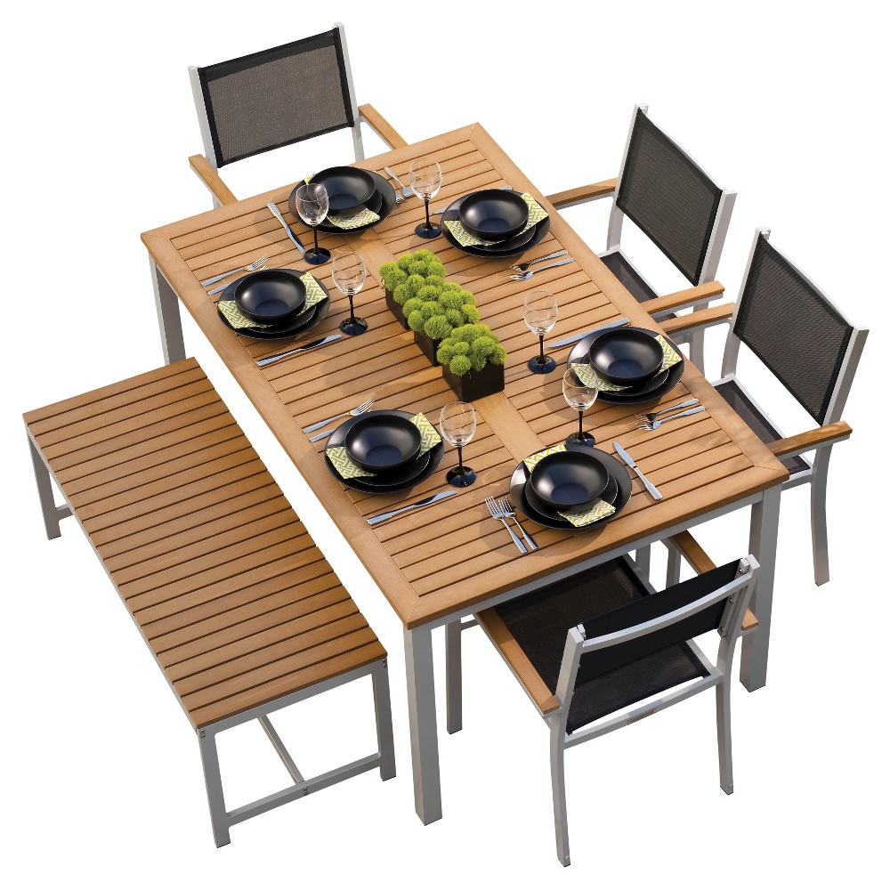 Oxford Garden Travira 6-Piece Dining Set - Powder Coated Aluminum with Natural Tekwood and Resin Wicker, Brown