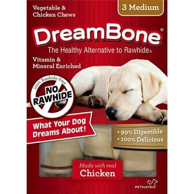 DreamBone Medium Vegetable and Chicken Flavored Rawhide Chew Bone 3ct