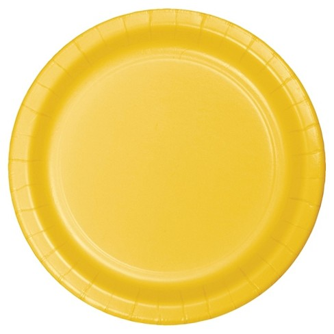 "School Bus Yellow 9"" Paper Plates - 24ct - image 1 of 1"