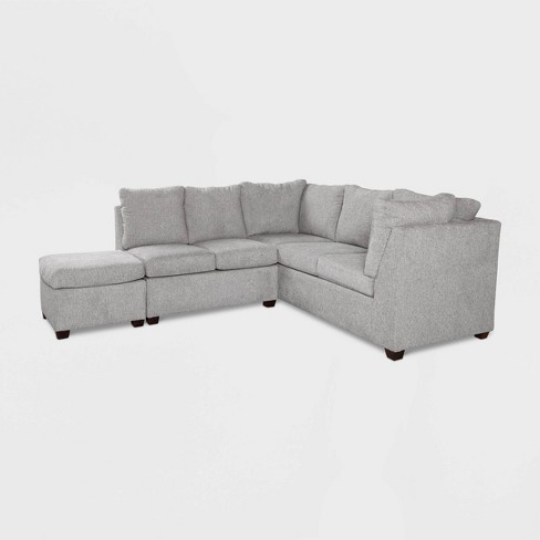 2pc Medford Sectional Sofa With Ottoman Gray Threshold