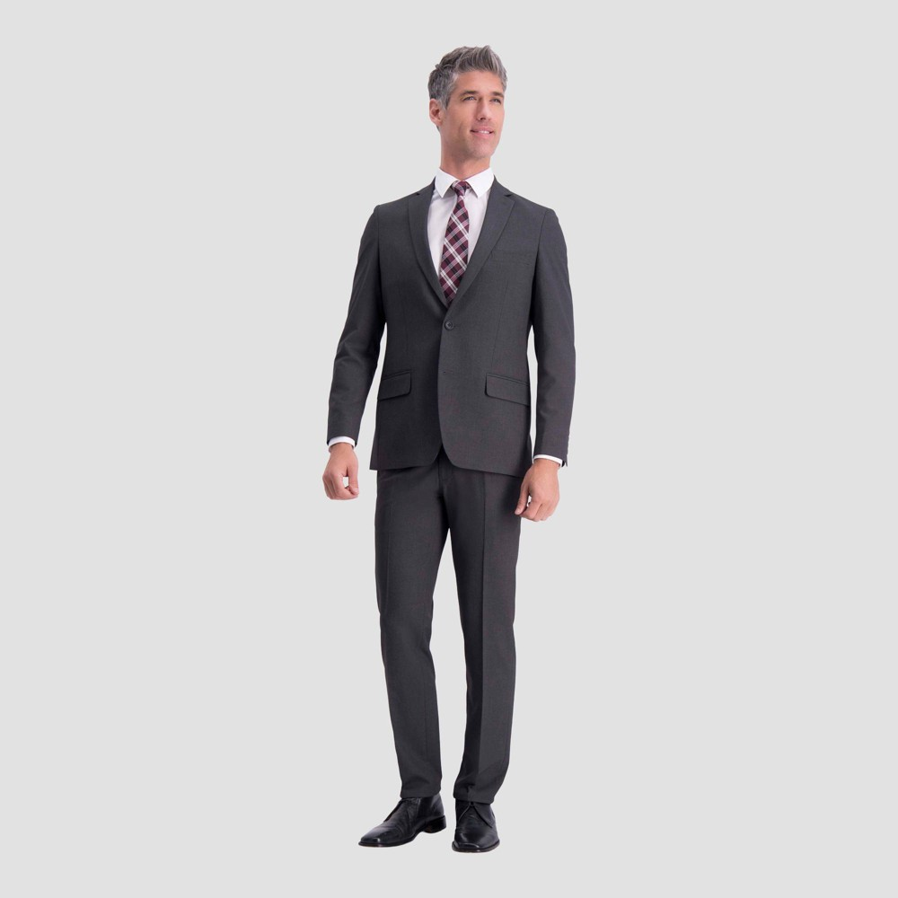 Image of Haggar H26 Men's Big & Tall Slim Fit Premium Stretch Suit Jacket - Charcoal Heather 46 Regular, Gray