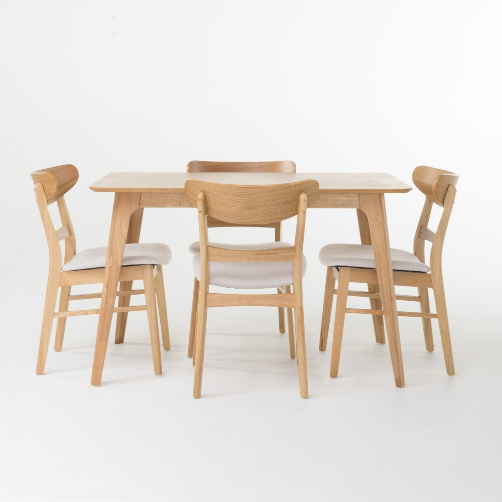 Idalia 50 5pc Dining Set Oak Brown/Light Beige - Christopher Knight Home