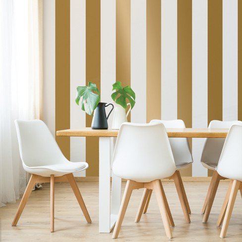 Devine Color 2pk Mini Stripe Peel Stick Wallpaper Gold White Target