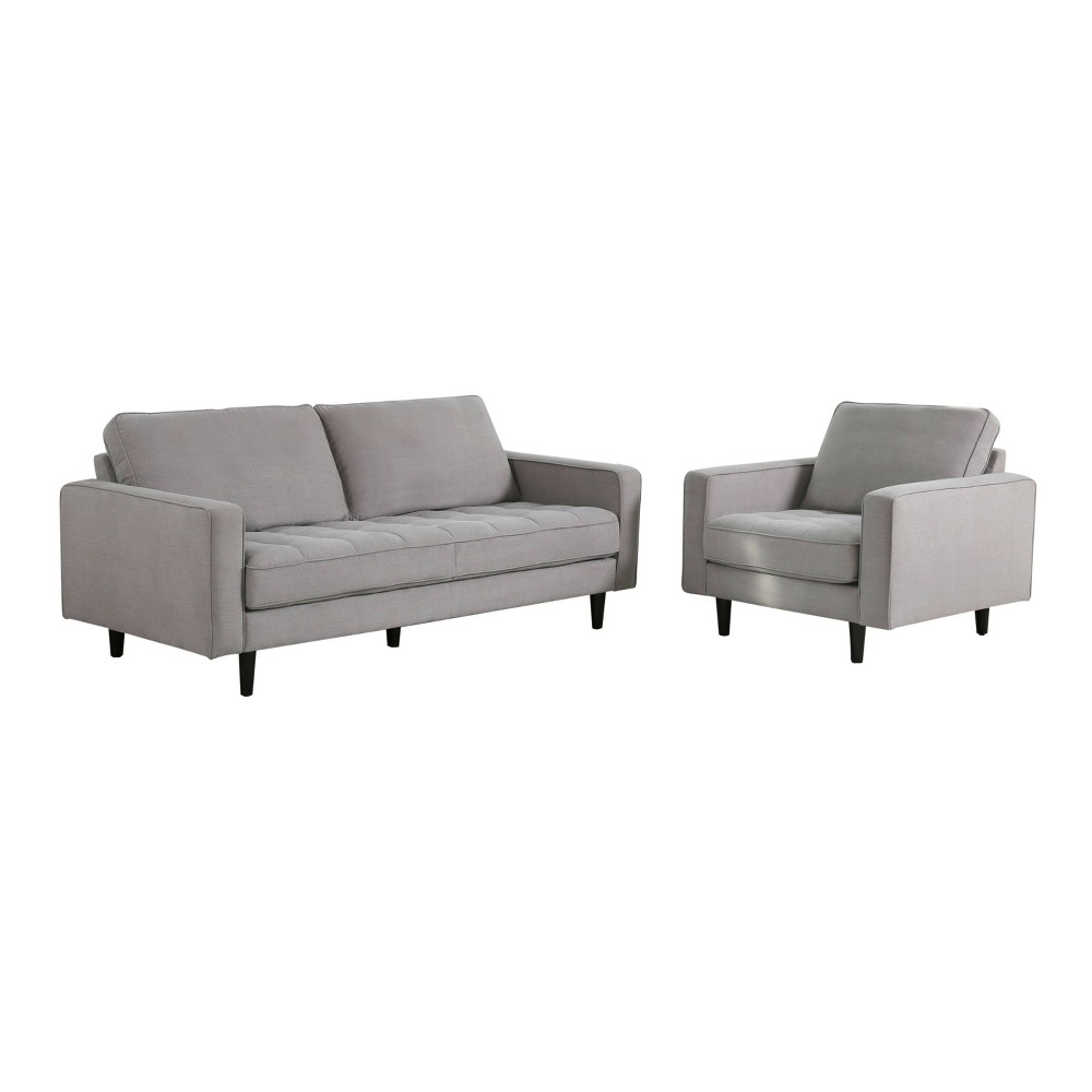 Image of 2pc Axel Mid Century Tufted Fabric Sofa & Armchair Set Gray - Abbyson Living