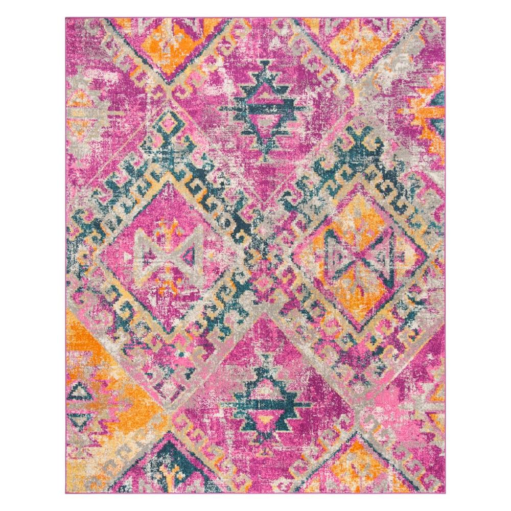 8'X10' Tribal Design Loomed Area Rug Fuchsia/Blue - Safavieh, Pink