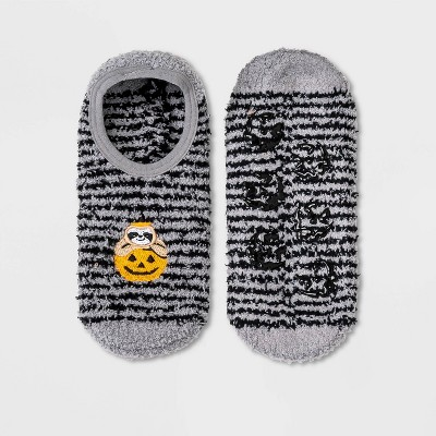 Women's Embroidered Pumpkin Sloth Cozy Striped Halloween Pull-On Liner Socks - Hyde & EEK! Boutique™ Gray 4-10