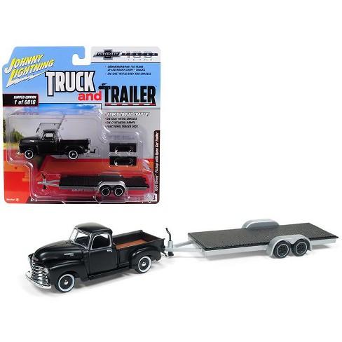 1950 Chevrolet Pickup Truck Matte Black w/ Open Car Trailer Ltd Ed 6016 pieces 1/64 Diecast Model by Johnny Lightning - image 1 of 2