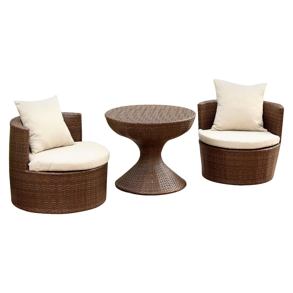 Image of 3pc Manchester Outdoor Wicker Patio Chat Set Brown - Abbyson Living