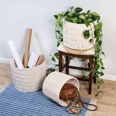 Honey-Can-Do 3pc Cozy Weave Basket White