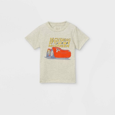 Toddler Boys' Disney Cars Lightning McQueen Short Sleeve Graphic T-Shirt - Cream