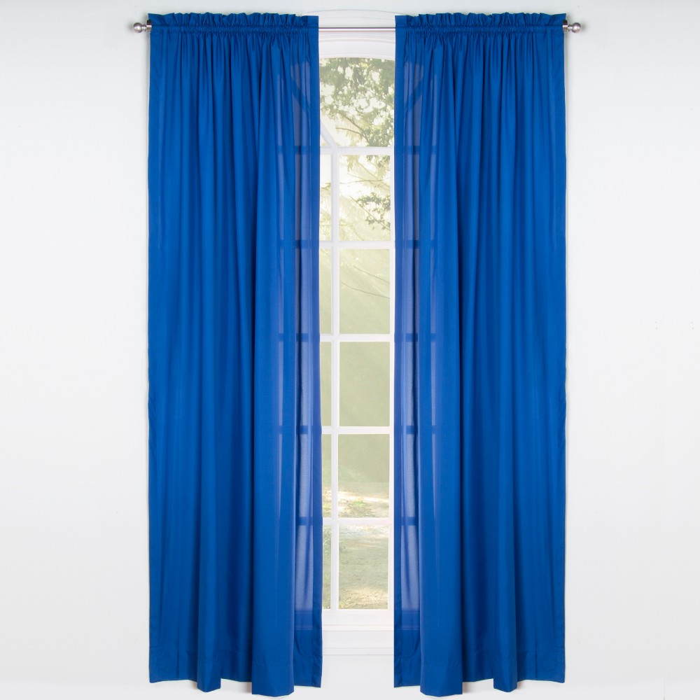 Image of Blue Solid 84 Rod Pocket Single Curtain Panel - Leaning Linens