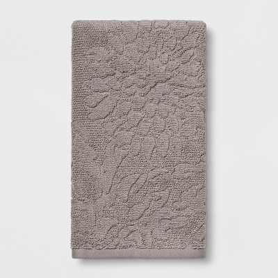 Tonal Gray Sculpted Floral Hand Towel Gray - Threshold™
