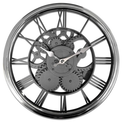 "12"" Chrome Case with See Thru Faux Gears Wall Clock Black - MZB"