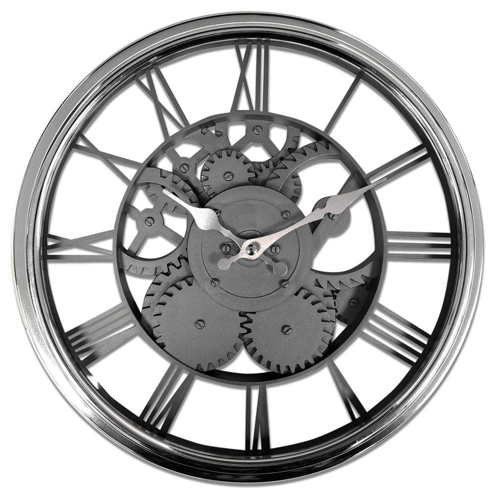 "Image of ""12"""" Chrome Case with See Thru Faux Gears Wall Clock Black - MZB, Brown"""