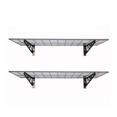 SafeRacks 24 x 48 Inch Garage Wall Shelf Two-Pack with Bike Tire Hooks, Gray