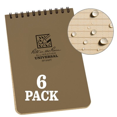 """6pk Spiral Notebook 1 Subject Special Ruled 4"""" x 6"""" Tan - Rite in the Rain"""