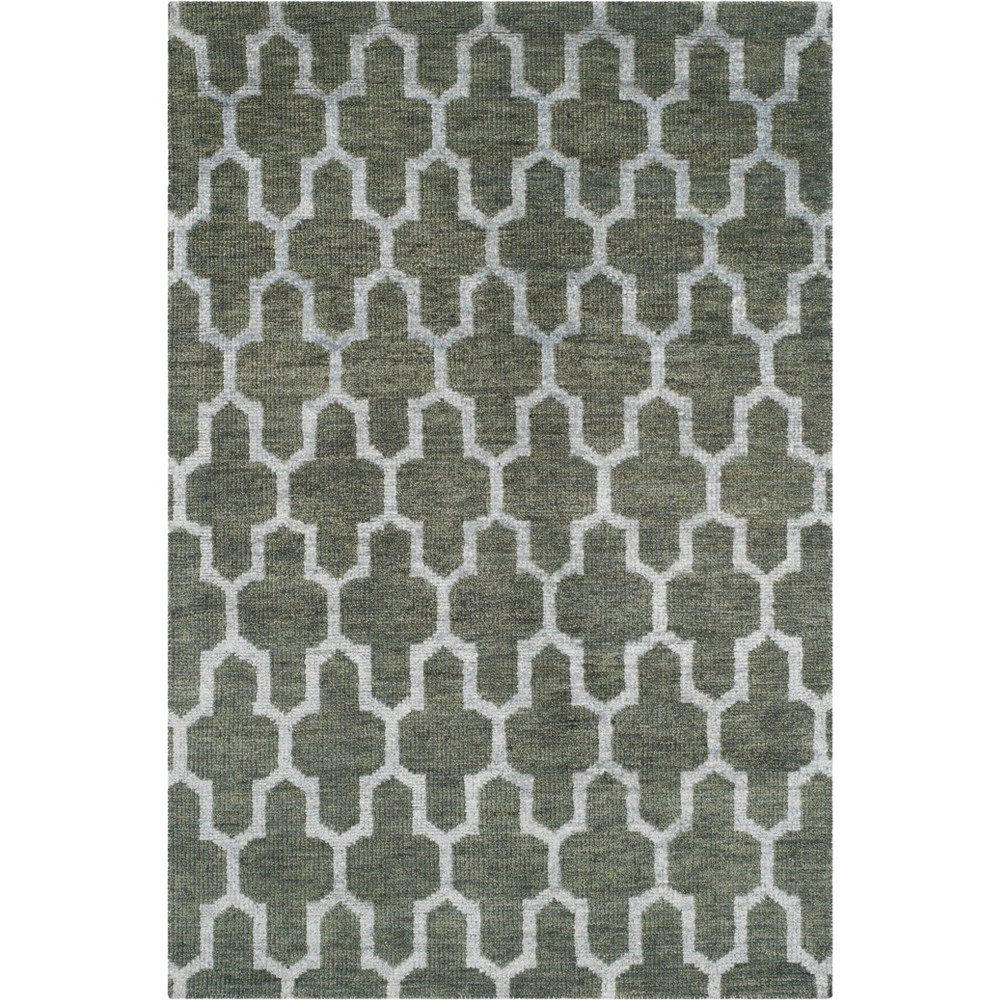 4'X6' Geometric Knotted Area Rug Charcoal/Light Gray - Safavieh