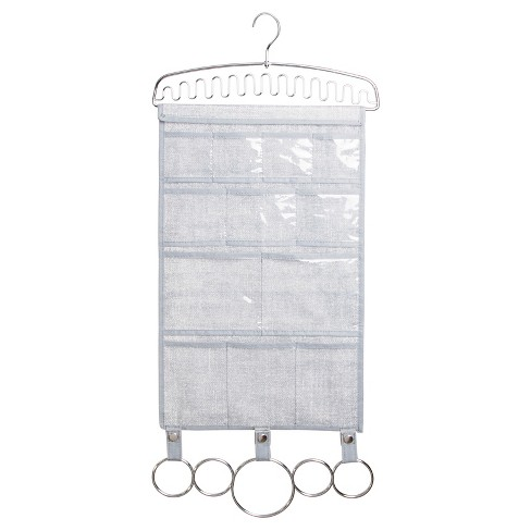 InterDesign Soft Hanging Scarf and Jewelry Organizer - Gray/Chrome