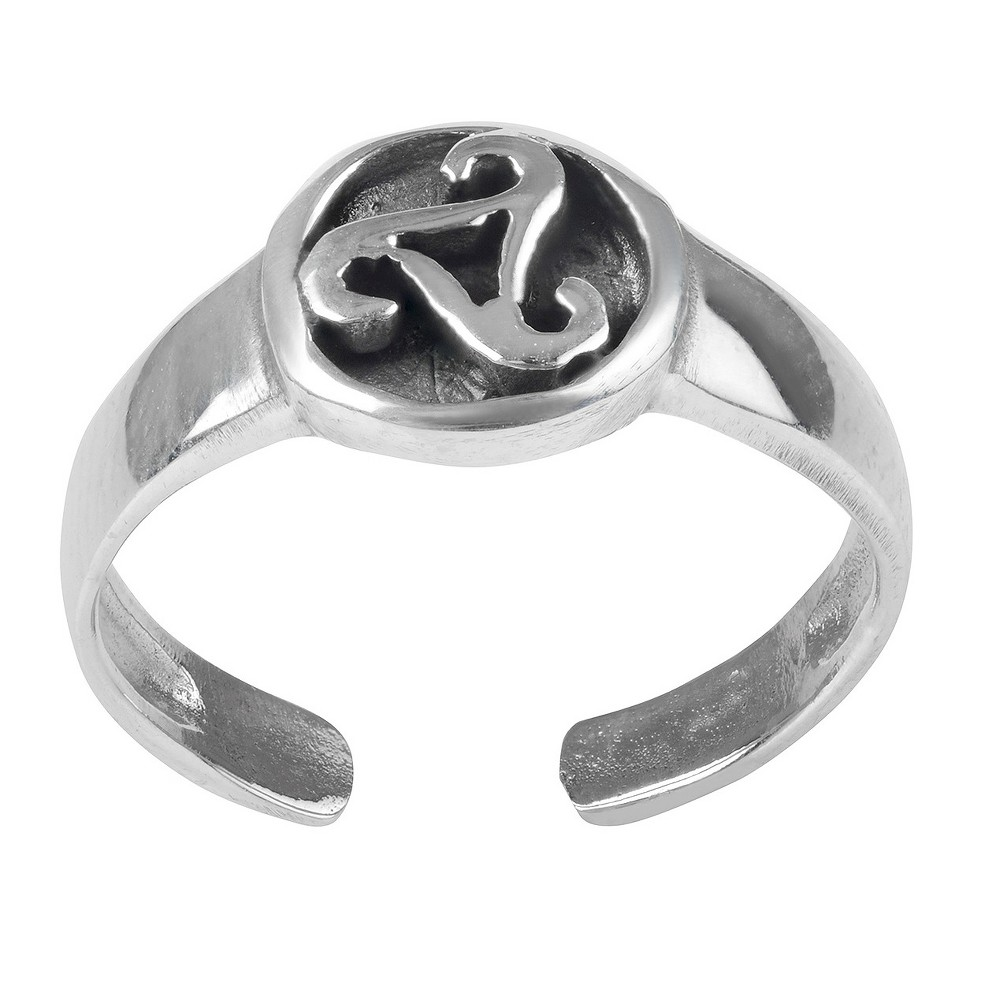 Women's Journee Collection Sterling Silver Celtic Design Adjustable Toe Ring - Silver