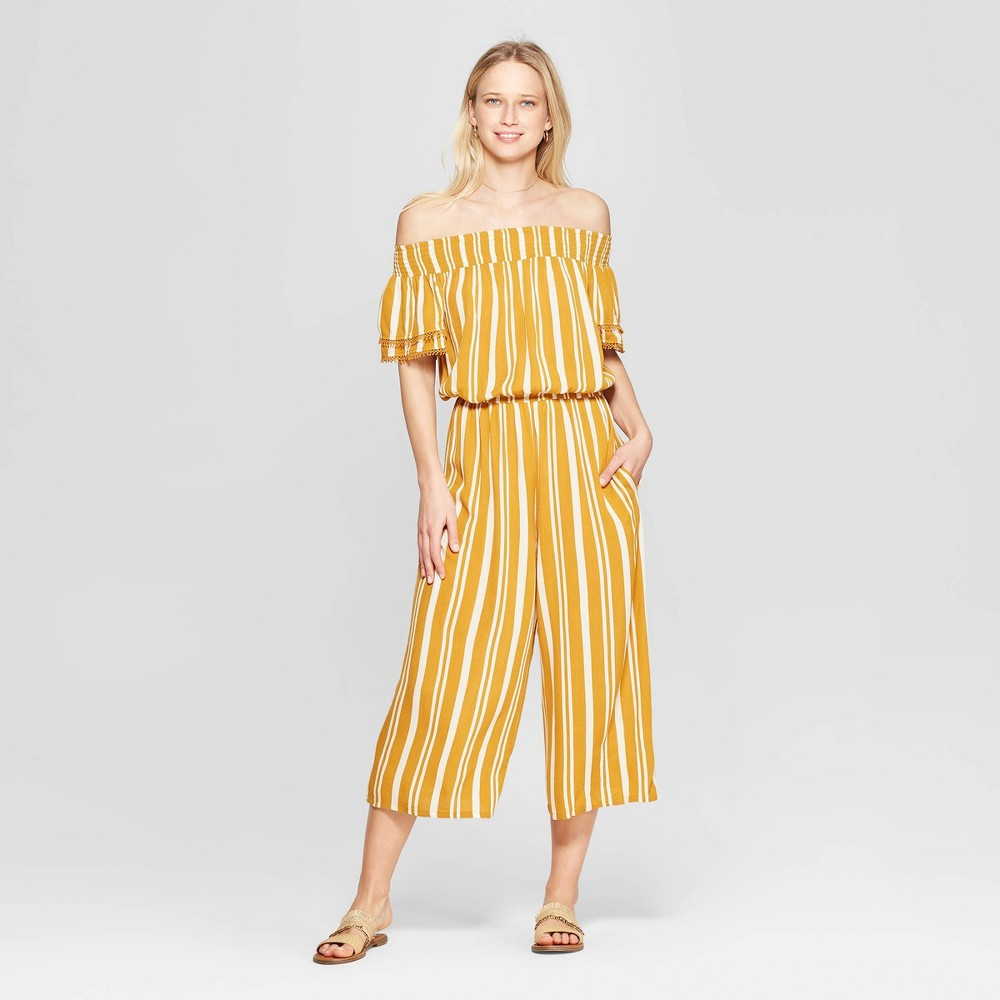 1e737c800 Womens Striped Short Sleeve Off the Shoulder Smocked Top Cropped Jumpsuit  Xhilaration Gold Metal S