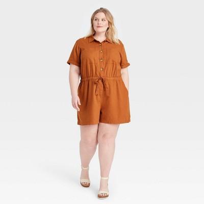 Women's Plus Size Short Sleeve Button-Up Drawstring-Waist Utility Romper - Ava & Viv™