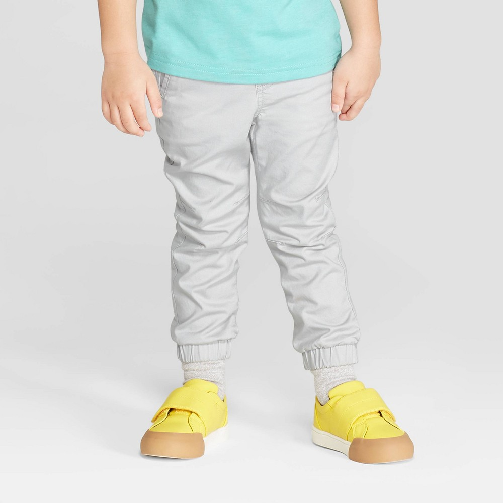 Toddler Boys' Stretch Twill Front Jogger Pants - Cat & Jack Gray 12M