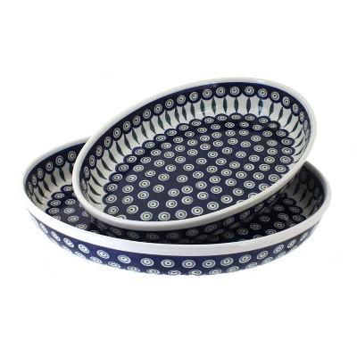 Blue Rose Polish Pottery Peacock Oval Baker Set