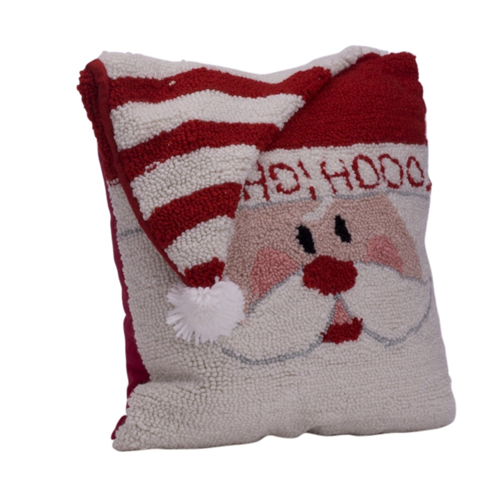 "Image of ""14"""" Hooked 3D Santa Throw Pillow - Glitzhome"""