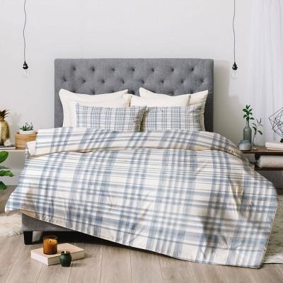 Queen Little Arrow Design Co Winter Watercolor Plaid Blue Comforter Set - Deny Designs