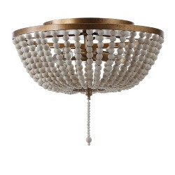 "15"" Allison Wood Beaded/Metal LED Flush Mount Ceiling Light Antique Gold - JONATHAN Y"