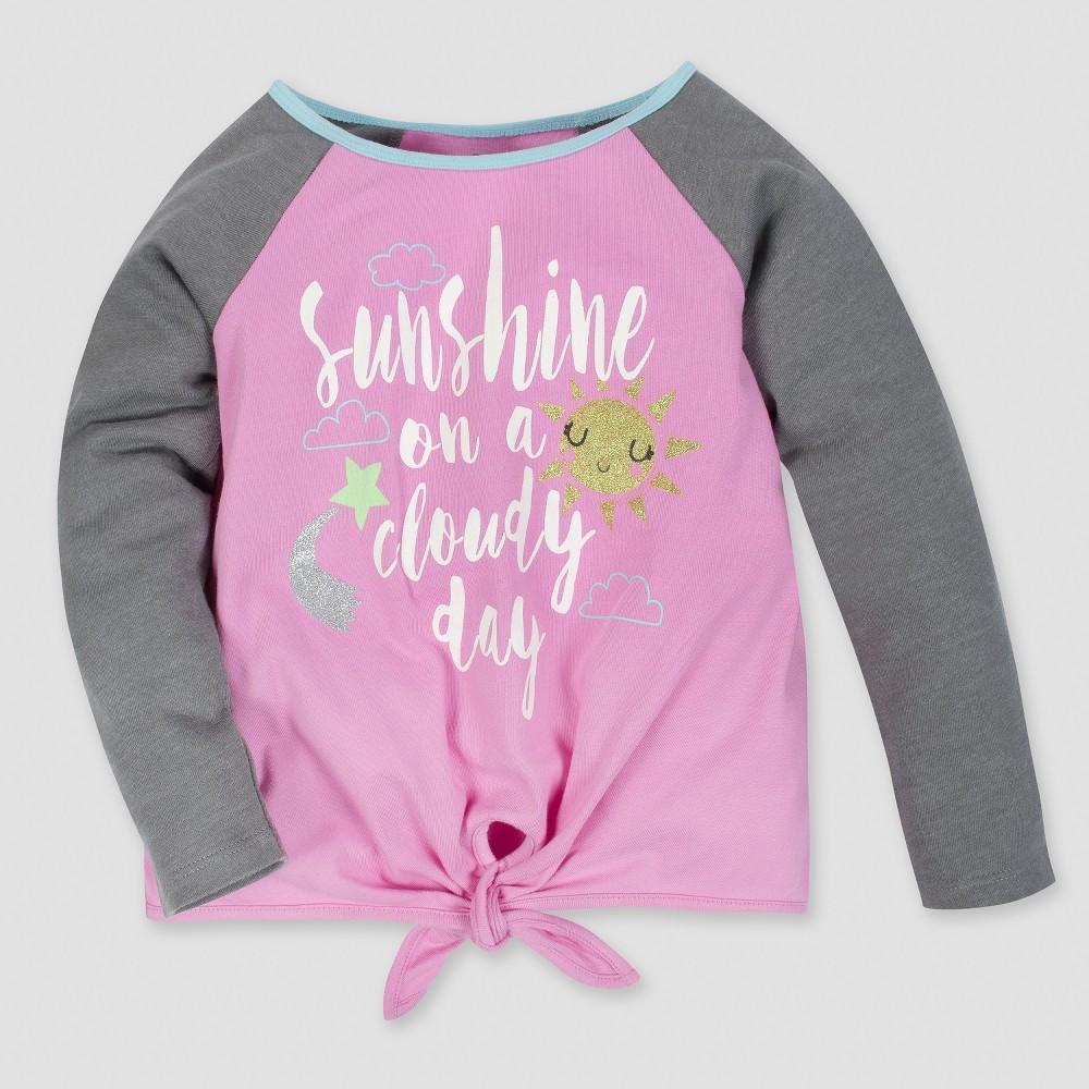 Gerber Toddler Girls' Long Sleeve Sunshine Top - Pink/Gray 4T