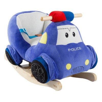 Toy Time Kids' Plush Rocking Police Car Ride-On Toy With Wooden Rockers and Realistic Sounds