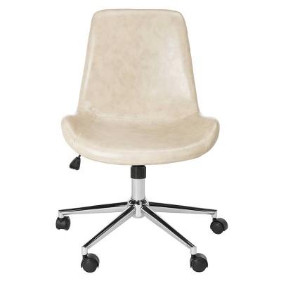 Fletcher Swivel Office Chair Beige/Chrome - Safavieh
