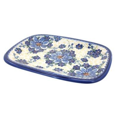 Blue Rose Polish Pottery Daisy Surprise Medium Rectangular Serving Dish