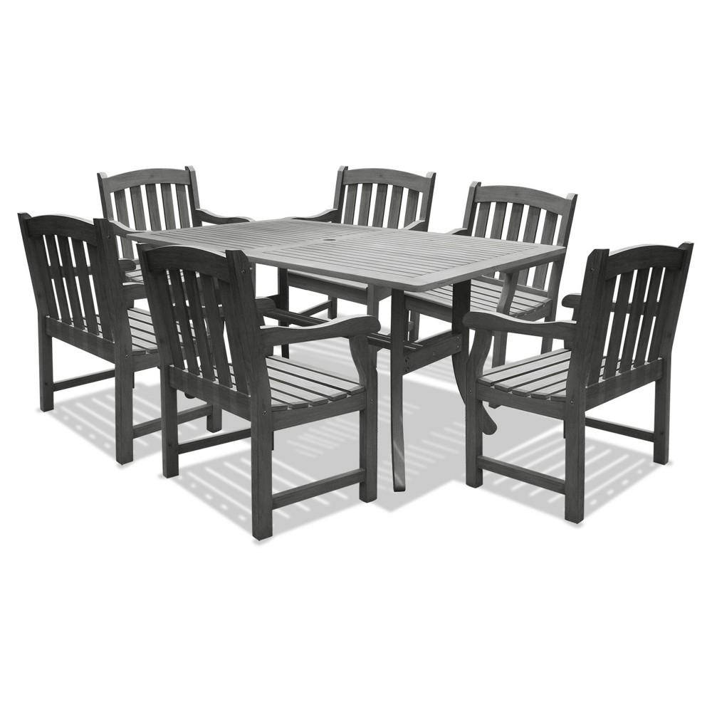 Vifah Renaissance Rectangular Table & Arm Chair Outdoor Hand-scraped 7pc Dining Set - Gray