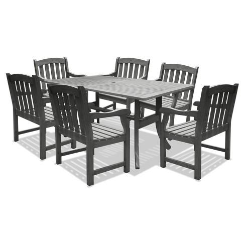 Vifah Renaissance Rectangular Table Arm Chair Outdoor Hand Scraped - Dining-room-chair-exterior