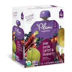 Plum Organics Stage 2 Organic Baby Food, Pear, Purple Carrot & Blueberry - 4oz (Pack of 4)