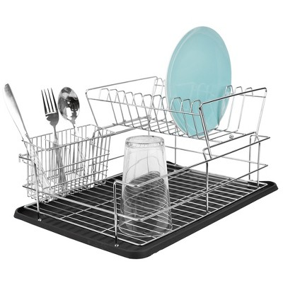 Home Basics Deluxe 2 Tier Dish Rack, Black